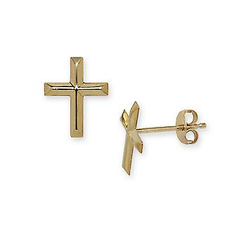 14k Yellow Gold Cross Stamping Children Earrings - Measures 10x8mm