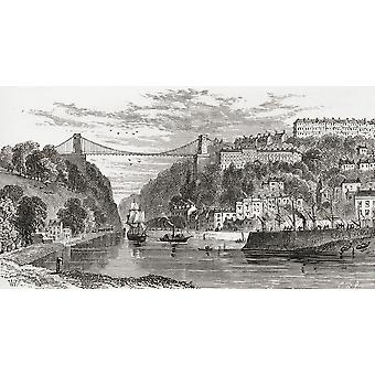 Obejmującym Avon Gorge Bristol Anglii pod koniec XIX wieku z naszego kraju most Clifton Suspension Bridge opublikowane 1898 PosterPrint