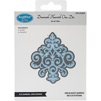 JustRite Custom Dies 2/Pkg-Damask Flourish JR05069