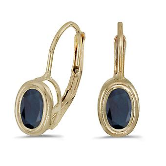 14k Yellow Gold Oval Sapphire Bezel Lever-back Earrings