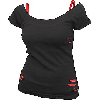 Spiral 2 In 1 Red & Black Ripped Top