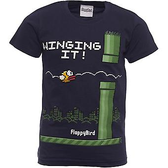 FLAPPY BIRD T-shirt | Official Shirt | WINGING IT | Youth | 7-8 | BLUE