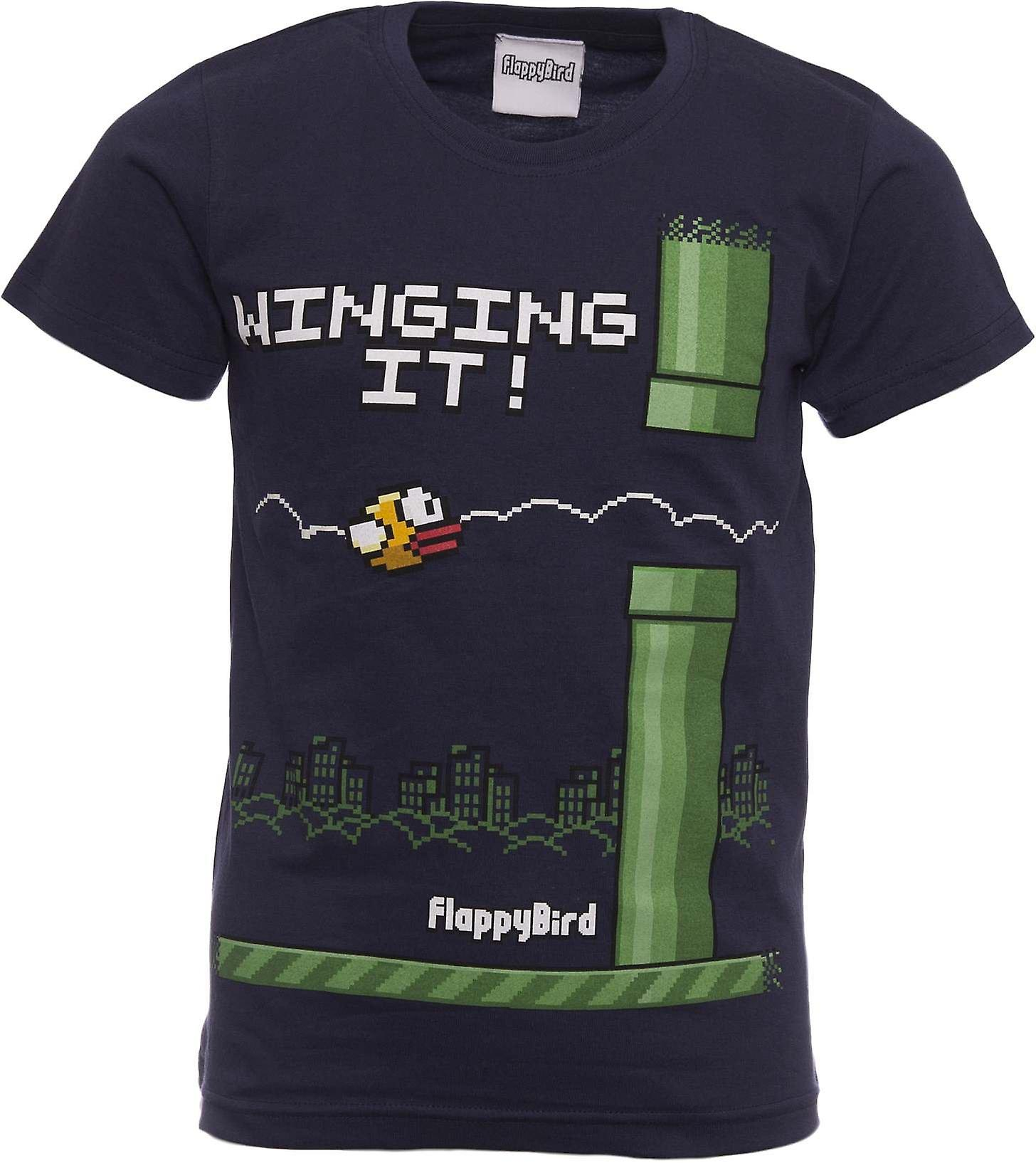 FLAPPY BIRD T-shirt   Official Shirt   WINGING IT   Youth   7-8   BLUE