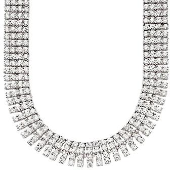 Iced Out Bling ZIRCONIA STONE 4 ROW chain - silver