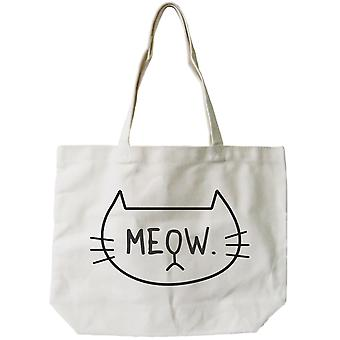 Meow Cute CatLady Design Printed Tote Canvas Bag Great Gift Idea