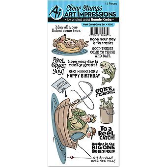 Art Impressions Work & Play Clear Stamp Set-Reel Great Guys 4900