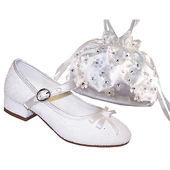 Girls white sparkly bridesmaid, communion shoes with white satin bag