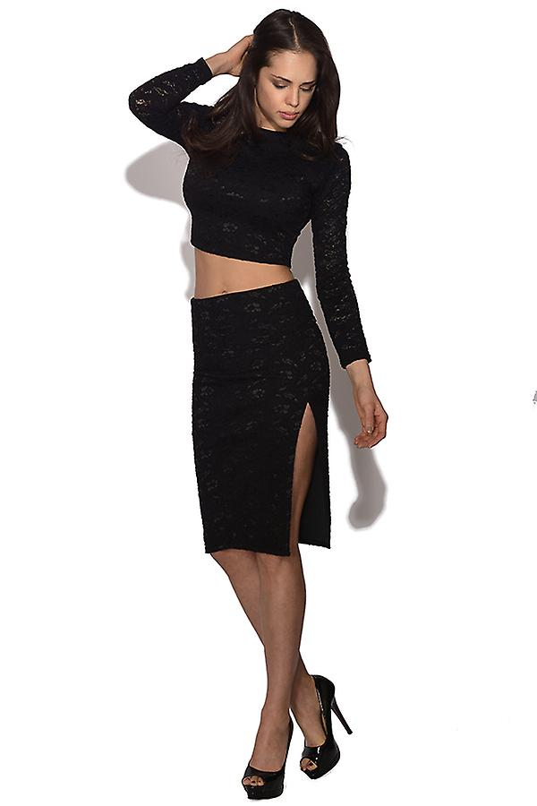 Honor Gold Black Lace 2 Piece Skirt and Top
