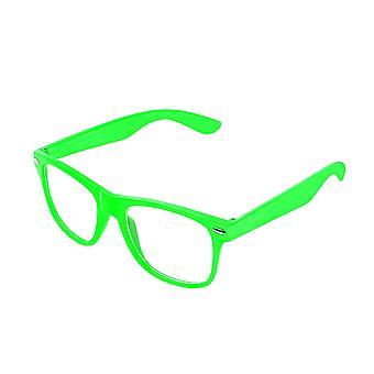 Retro Vintage Colour Unisex Punk Geek Wayfare Style Zero Number Clear Lens Glasses Eyewear - Green
