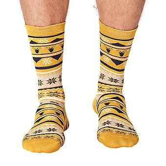 Jingle men's soft Christmas bamboo crew socks in mustard | By Thought