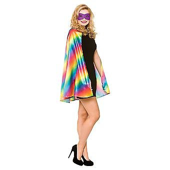 Unisex Gay Pride Rainbow Multi farvede superhelte Cape & maske Fancy kjole