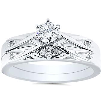 1 / 3ct Diamanten Engagement Trauring Set 14K Weißgold