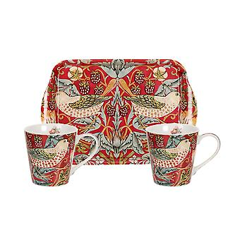 Pimpernel Morris & Co Strawberry Thief Red Mug and Tray Set