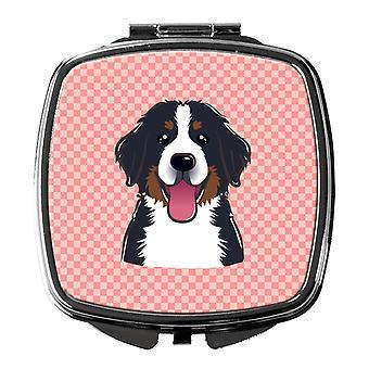 Checkerboard Pink Bernese Mountain Dog Compact Mirror