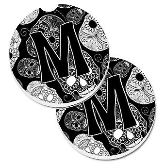 Letter M Day of the Dead Skulls Black Set of 2 Cup Holder Car Coasters