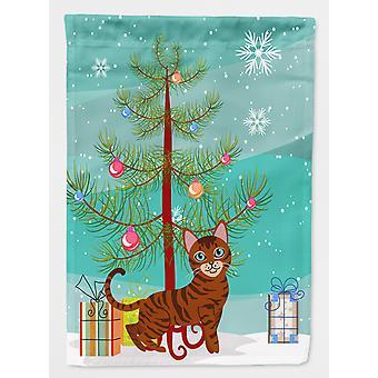 Carolines Treasures  BB4434GF Toyger Cat Merry Christmas Tree Flag Garden Size