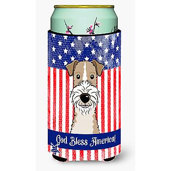 God Bless American Flag with Wire Haired Fox Terrier Tall Boy beverage Insulator