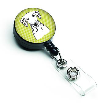 Checkerboard Lime Green Dalmatian Retractable Badge Reel