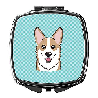 Carolines Treasures  BB1191SCM Checkerboard Blue Corgi Compact Mirror