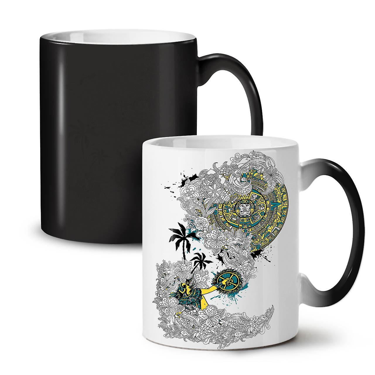 Aztec Noir Ornament Céramique OzWellcoda Nouvelle Thé Café Vintage Tasse Changeant 11 Couleur 4AL5Rj