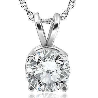 2ct Solitaire Diamond Pendant 14K White Gold Clarity Enhanced