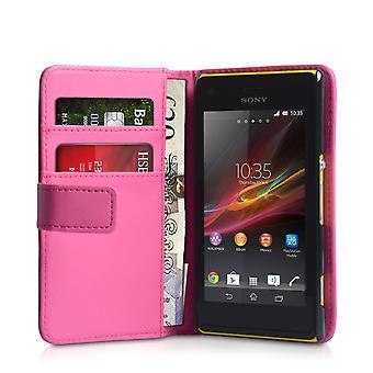Yousave Sony Xperia M Effekt Wallet Ledertasche - Hot Pink
