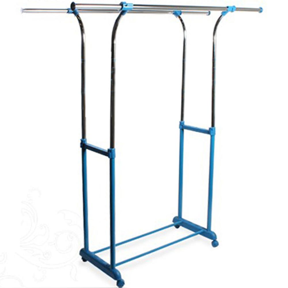 Hang - Double Adjustable Wardrobe / Clothes Hanging Storage Rail - Silver / Blue