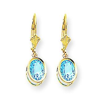 14k Yellow Gold Polished 8x6mm Oval Blue Topaz Leverback Earrings - 3.00 cwt