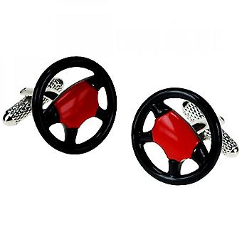 Onyx-Art Steering Wheel Car Cufflinks Red & Black