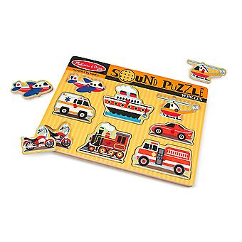 Melissa & Doug Vehicles Sound Puzzle Wooden With Sound 8 pcs