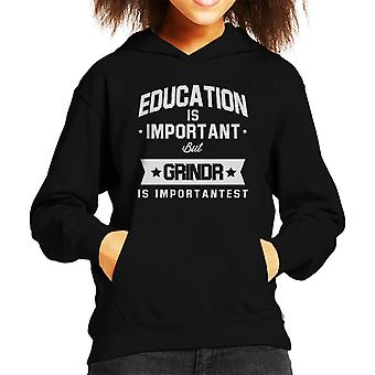 Education Is Important But Grindr Is Importantest Kid's Hooded Sweatshirt