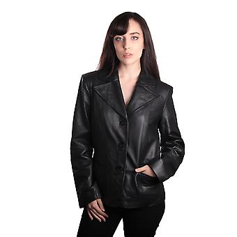 Ladies Fashion 3 Button Black Leather Blazer