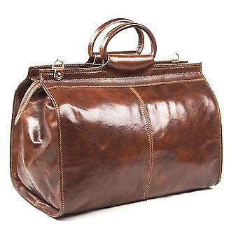 Italienischen Echtleder Travel Bag Wochenende Reisetasche Duffel über Nacht braun Unisex