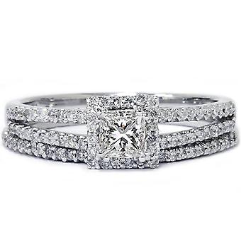 3 / 4ct Princess Cut Split Shank verlovingsring Set 14K White Gold