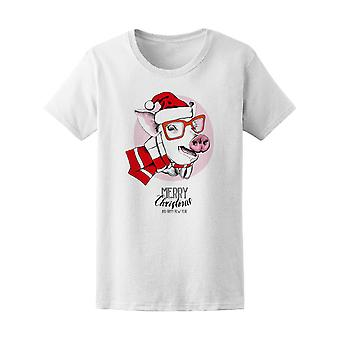 Pig In A Red Santa's Cap  Tee Women's -Image by Shutterstock