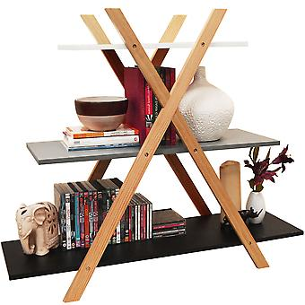 Avone - Retro 3 Tier Wood Cross X Frame Storage Shelf Bookcase - White / Grey / Black