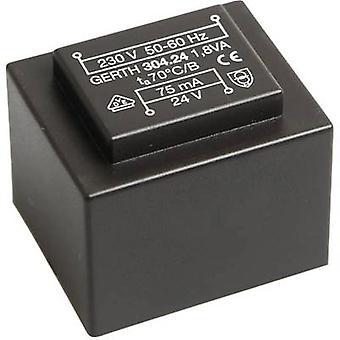 PCB mount transformer 1 x 230 V 2 x 6 V AC 1.80 VA 150 mA PT301202 Gerth