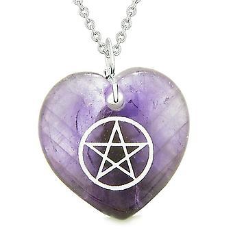 Amulet magiske Pentagram beskyttelse krefter Puffy hjerte energi lilla kvarts anheng 18 tommers halskjede