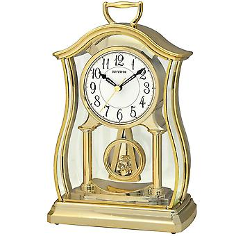 Rhythm 7611/9 table clock quartz with pendulum golden pendulum clock soothing slow