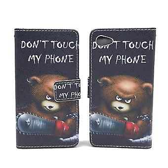 Cell phone case pouch for phone Sony Xperia Z5 Compact logo bear with chainsaw