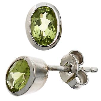 Green earrings 925 sterling silver rhodium plated Peridote earrings silver