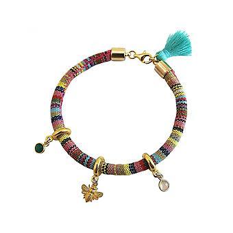 Damen - Armband - 925 Silber Vergoldet - AZTEC - BEE - Biene  - Smaragd - Grün - Rosenquarz - Rosa