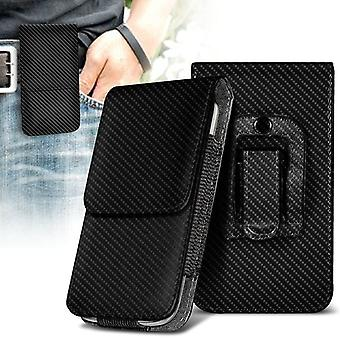 ONX3 (Carbon Black) Premium Vertical Faux Leather Belt Holster Pouch Cover Case With Magnetic Closure For Oukitel U22 [XXL ]