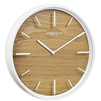30cm Oslo Skog White & Wood Wall Clock