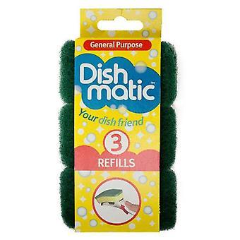3 x Heavy Duty Dishmatic grøn Refill svampe fra Caraselle