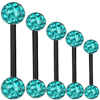 Piercing Bar zwart Titanium 1,2 mm, Multi Crystal Ball Aqua | 6 - 16 mm