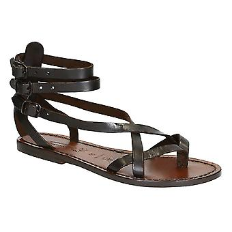 Handmade in Italy womens slave sandals in dark brown leather