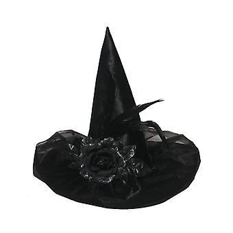 Henbrandt Deluxe svart Satin Witch Hat med fjær & blomst