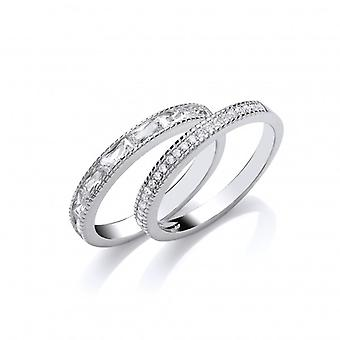 Cavendish Franse zilver en CZ dubbele Band Ring