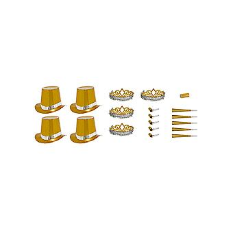 Gold Las Vegas Party Kit for 10 People